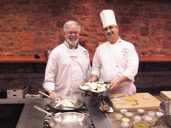Gourmet Mushrooms' Chef Liaison Bob Engel with CIA Greystone's Chef Almir de Fonseca.